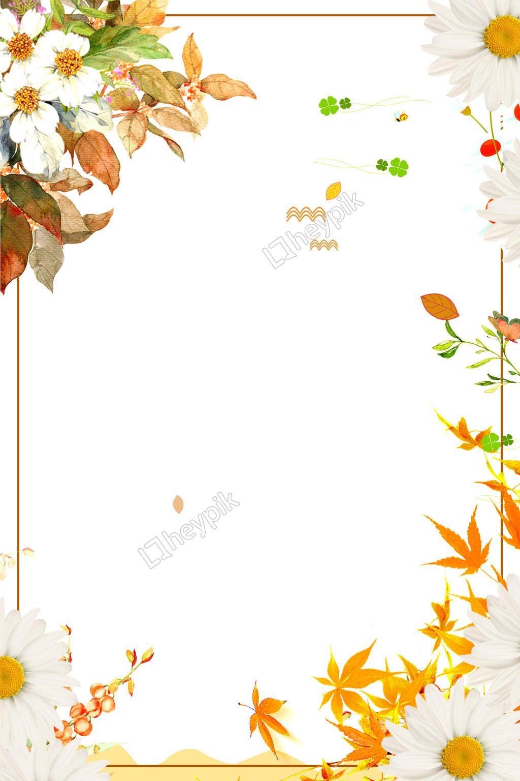 Romantic Golden Autumn Border Background Flower Frame Backgrounds Free Romantic