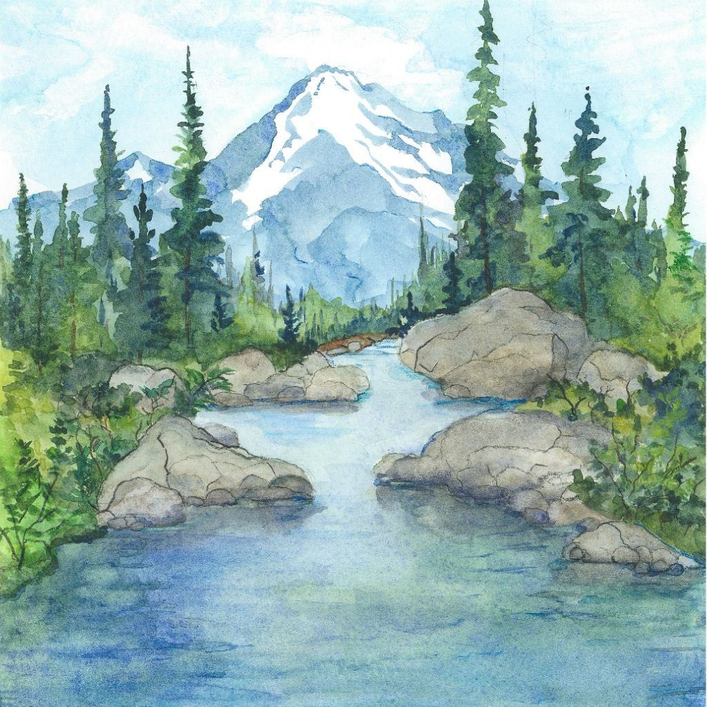 Breathe Watercolor Landscape Paintings Landscape Paintings