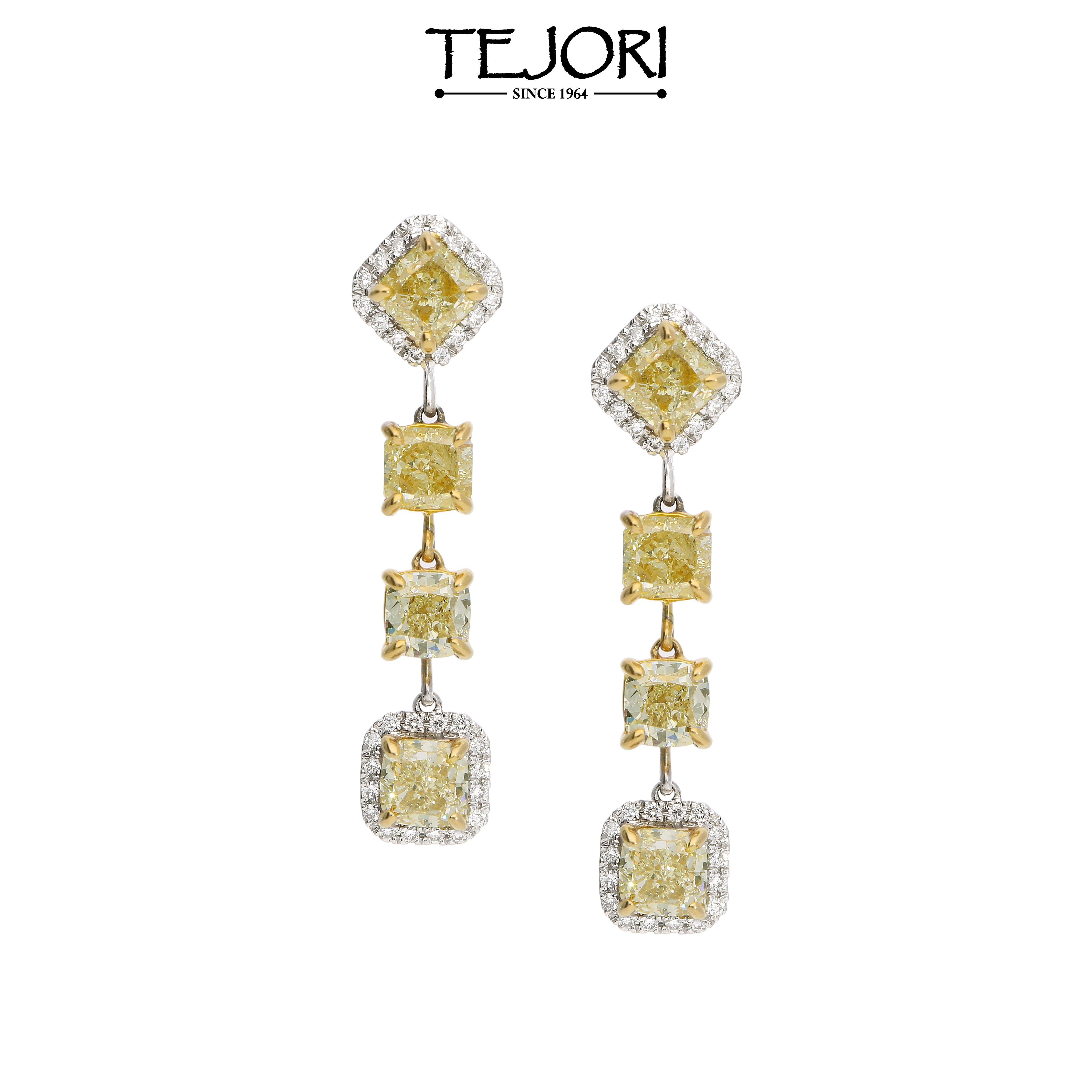 Fancy Yellow Cushion Cut Diamond Earrings In 18k White Gold