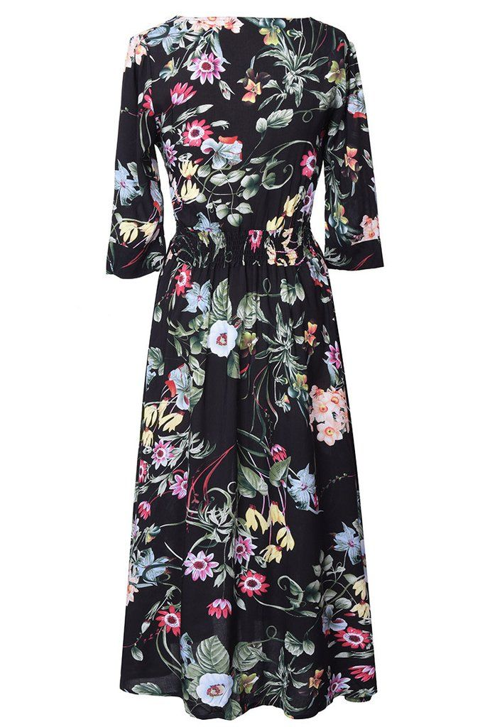 Cupshe Midnight Dancing Flowers Plunging Dress
