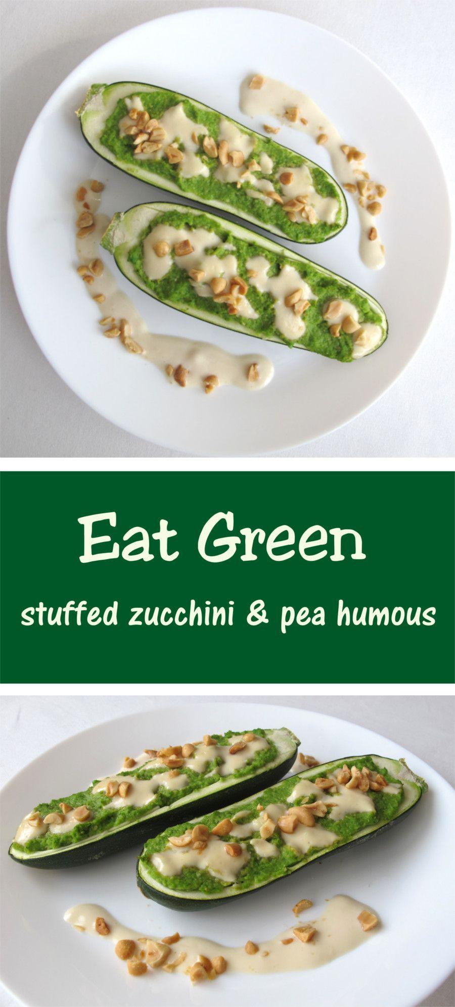 Eat Green - vegan stuffed zucchini and pea hummous