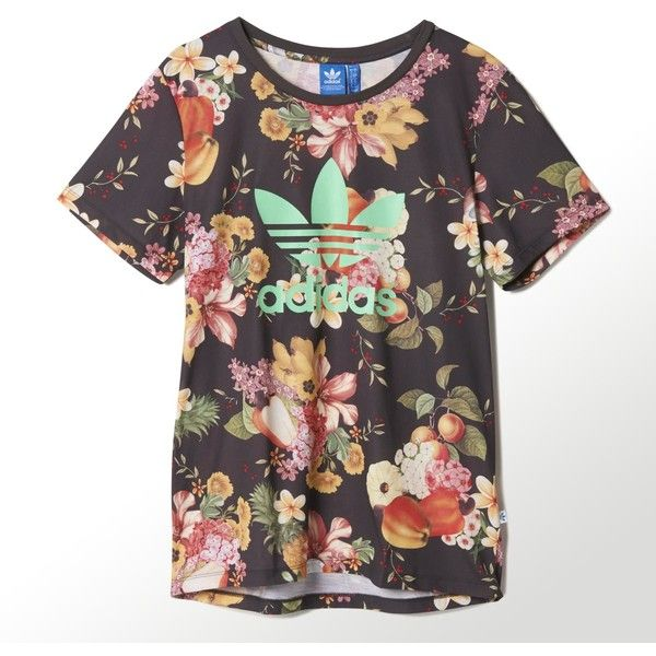574547ccf26 Adidas Jardim Tee ($20) ❤ liked on Polyvore featuring tops, t-shirts, shirts,  short sleeve, multi, flower print shirt, crewneck t-shirt, ribbed t shirt,  ...
