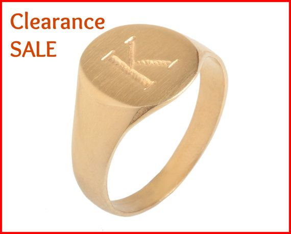 "CLEARANCE SALE Signet ring US Size 6 Engraved Letter ""K"" 14K"