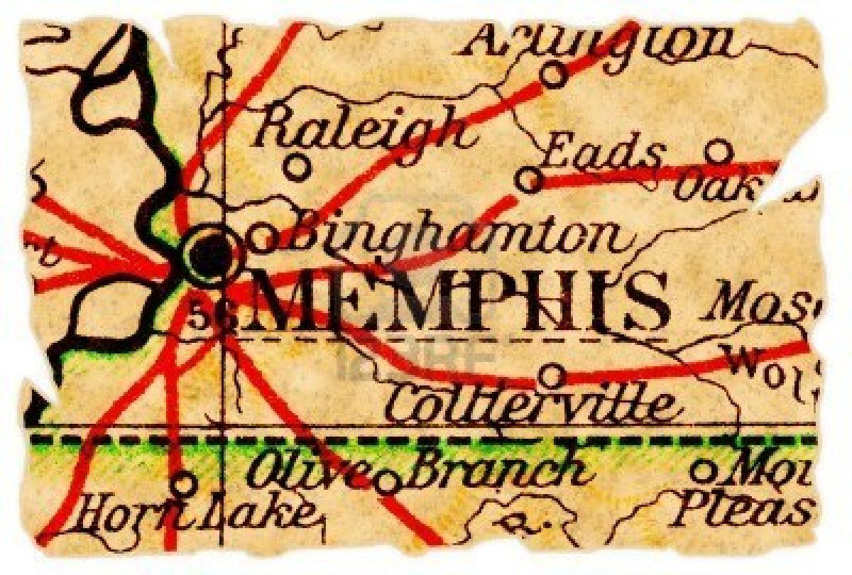 Memphis Tennessee on an old torn map from 1949 isolated Part