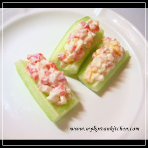 Cucumber boats with crab salad recipe canapes korean for Canape with ingredients