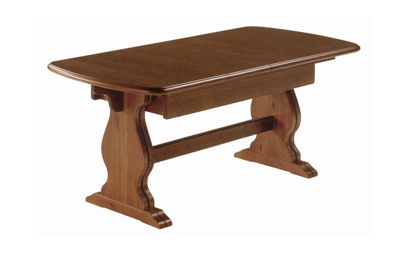 Tavolo allungabile rustico in legno massello di pino di svezia proposto in finitura noce www - Mobili in pino di svezia ...