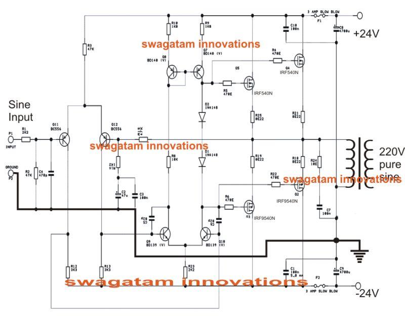 Simple Pure Sine Wave Inverter Circuit  500 Watt Pure