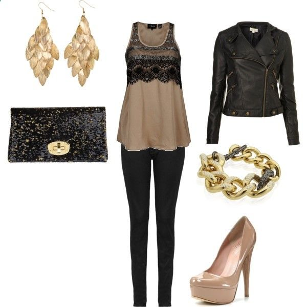 black/gold date outfit