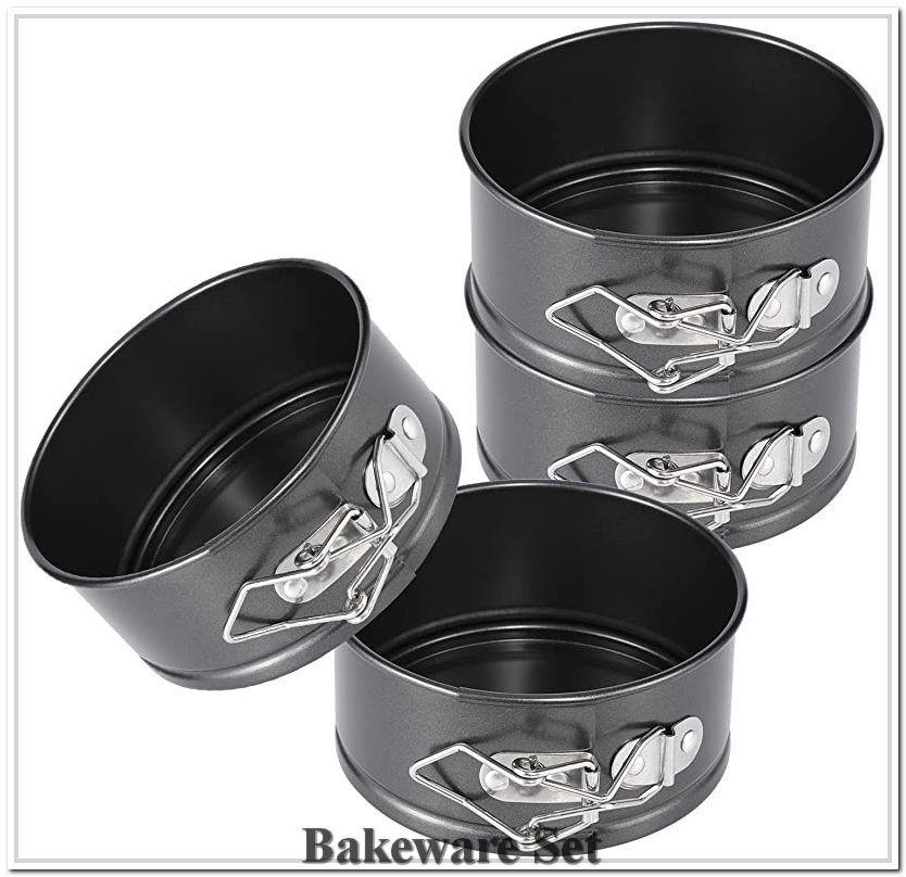 Hiware 4inch mini springform pan set 4 piece small