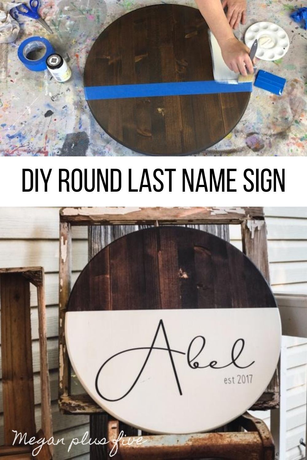 DIY round last name established sign with a modern