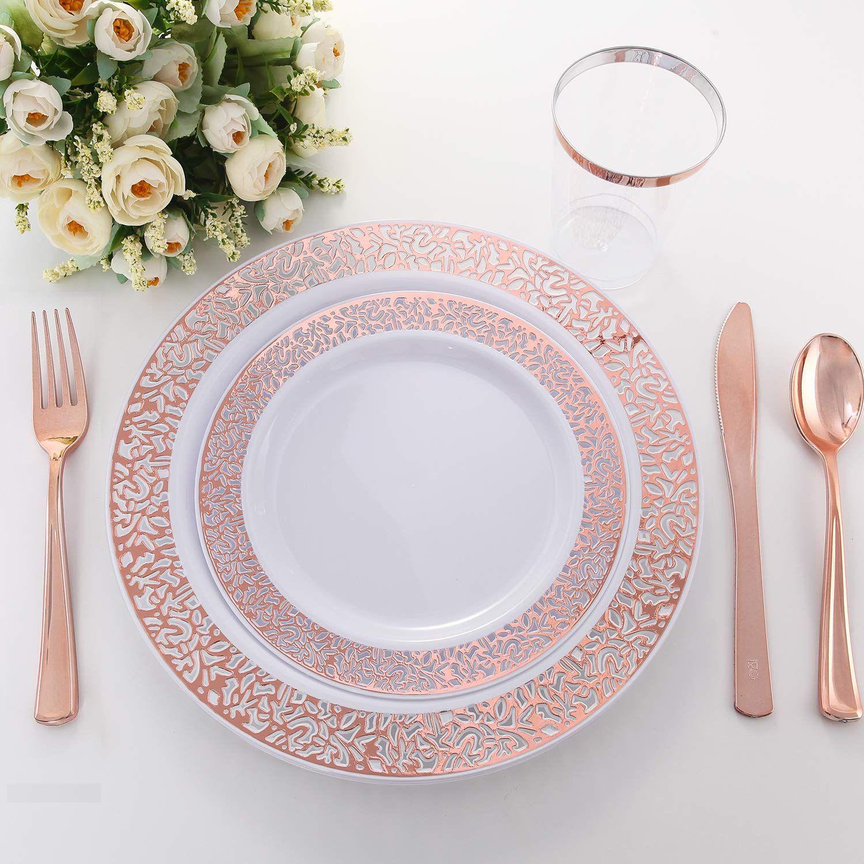 100 Piece Rose Gold Dinnerware Gold Dinnerware Rose Gold Plates Plastic Silverware