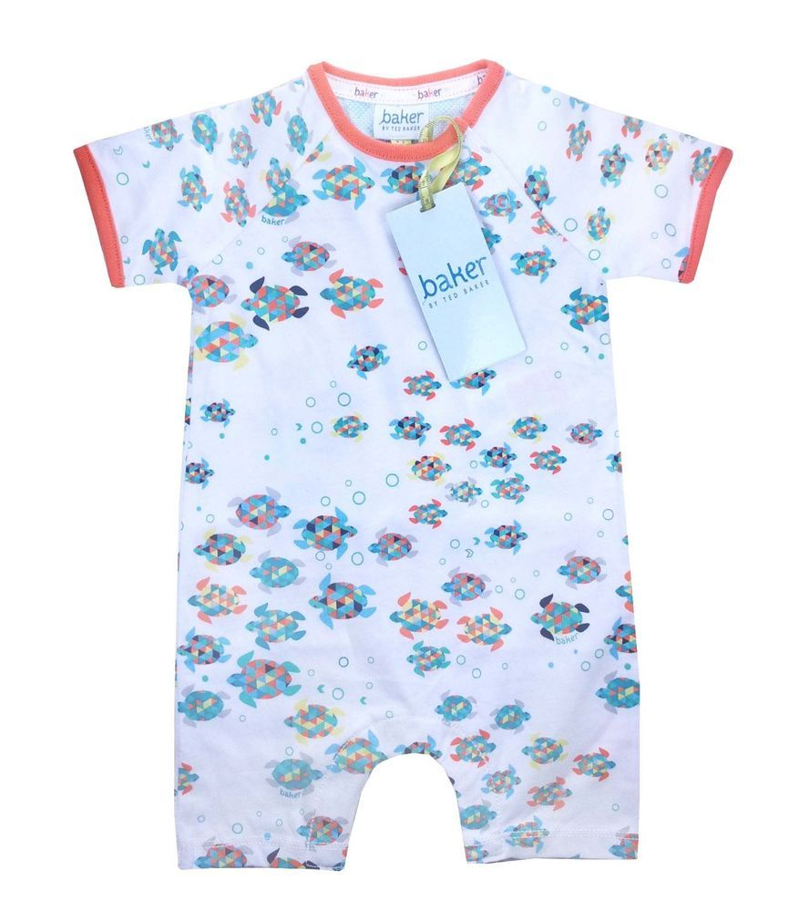 99ae53f464a0df Ted Baker Baby Boys Romper Bodysuit Designer Colourful Turtle 6-9 Months