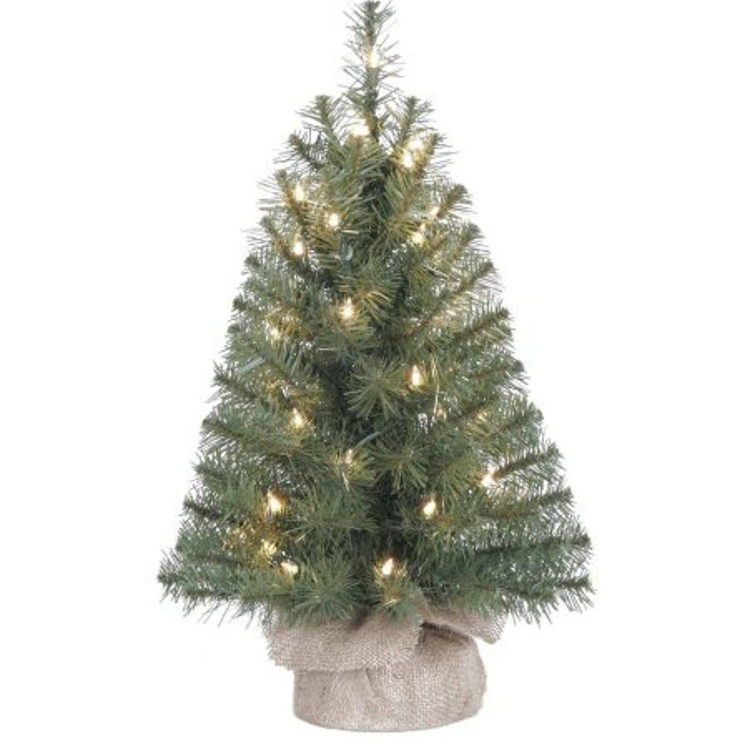 PreLit 2' Noble Fir Artificial Christmas Tree, Clear