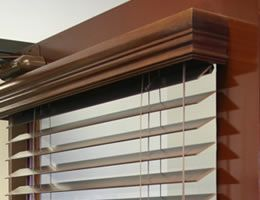 Horizontal Wood Blinds With A Top Cover To Hide When Fully Opened