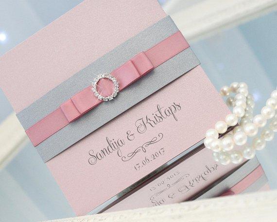 Pink Wedding Invitations Silver