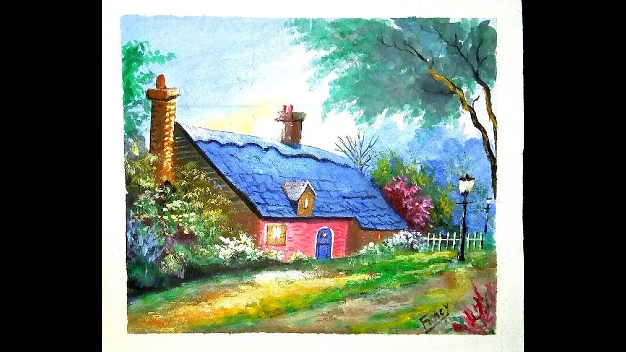 Beautiful Rest House Scenery Painting Acrylic Painting Tutorial Watercolor Landscape Paintings Scenery Paintings Painting