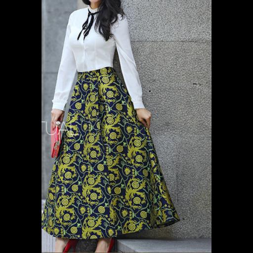 تنورة هاي ويست طويلة تنورة طويلة بمزيج من البوليستر مع القطن تنورة هاي ويست بخصر مرتفع واسعة مما تمنح حركة انس Flower Skirt High Waisted Skirt Skirts