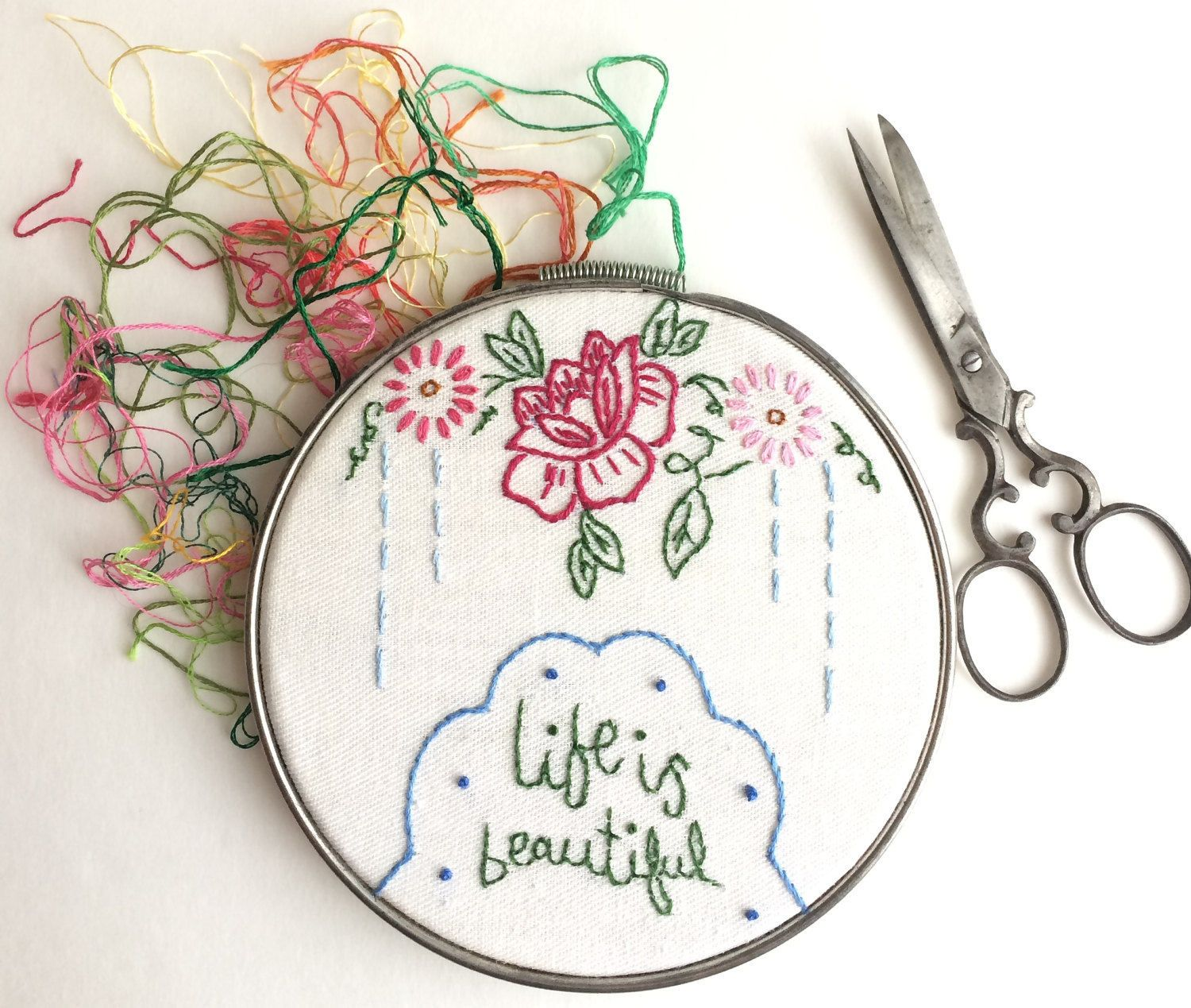 Shabby chic vintage embroidery metal hoop floral