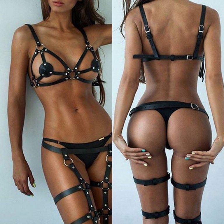 ba4899e9dd Handmade Sexy Leather Harness Garter Belt Bandage Bra Leg Suspenders   Handmade