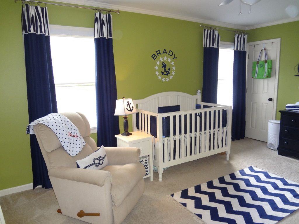 Navy blue bedroom curtains - Green And Navy Nautical Nursery