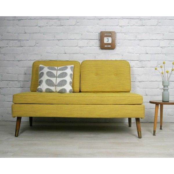 RETRO VINTAGE MID CENTURY DANISH STYLE SOFA BED DAYBED EAMES ERA 1950s 60s found on Polyvore - 1950s sofa Bed