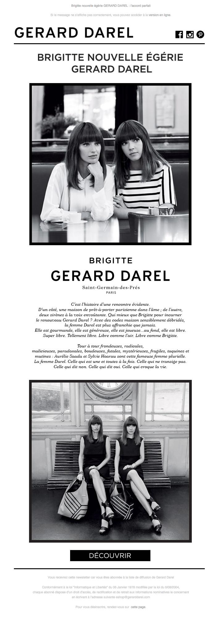 Gerard Darel Newsletter l BRIGITTE, nouvelle égérie GERARD DAREL : l'accord parfait