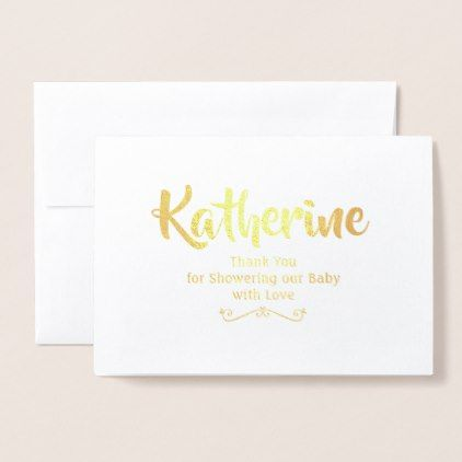 Gold Foil Thank You  Baby Shower Thank You Notes Foil Card