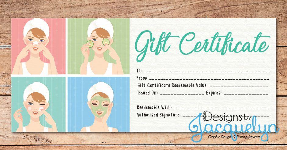Gift certificate spaskincare skin care spa gift