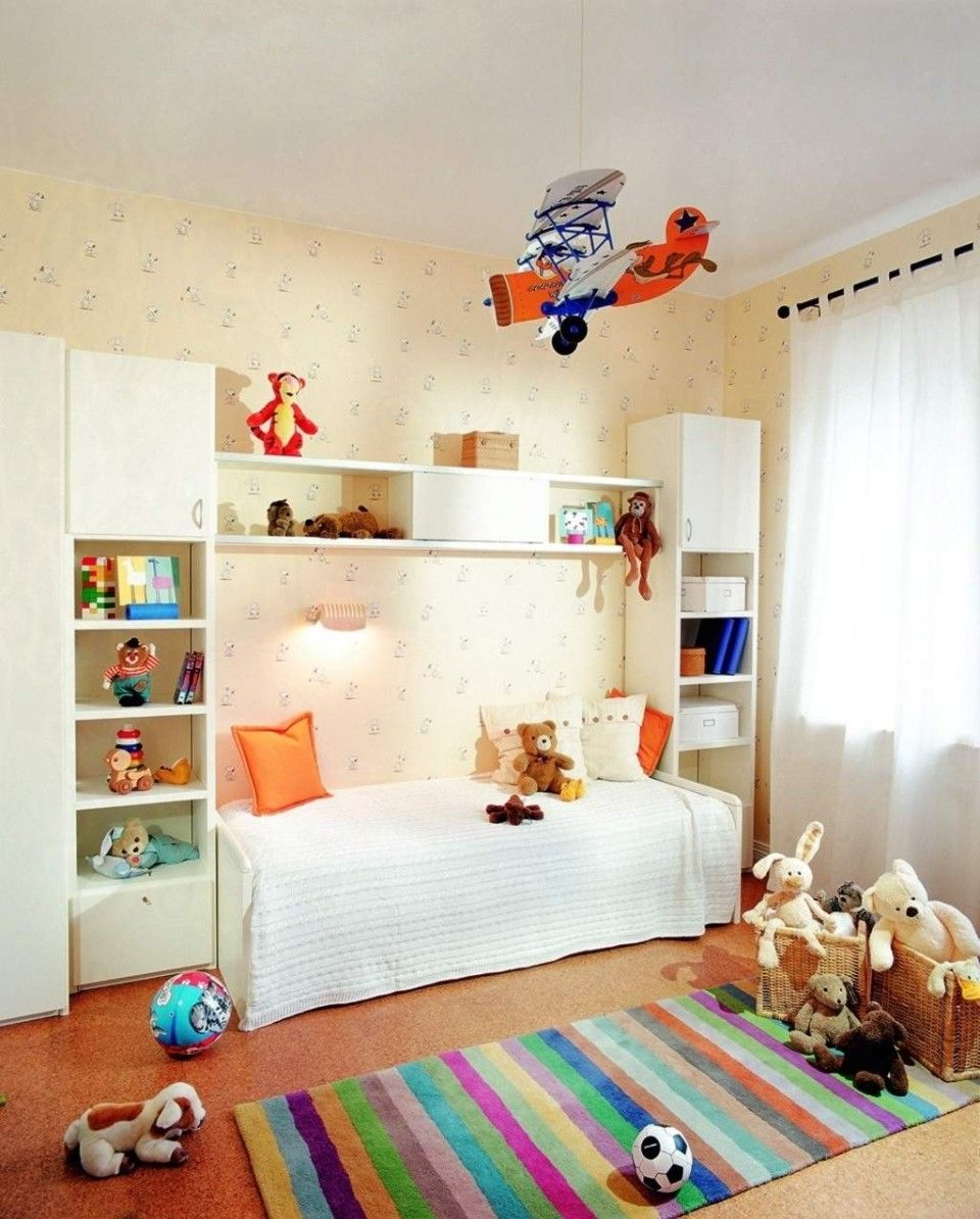 White Kids Storage Furniture And White Nightlight Above Orange Pillow Plus  White Bed Quilt In Sweet