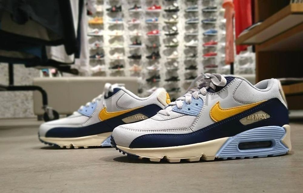hot sale online 52663 c85b4 NIKE AIR MAX 90 ESSENTIAL    BLUE VOID  YELLOW OCHRE   AJ1285-008 RARE  TRAINERS  Nike  Lifestyle