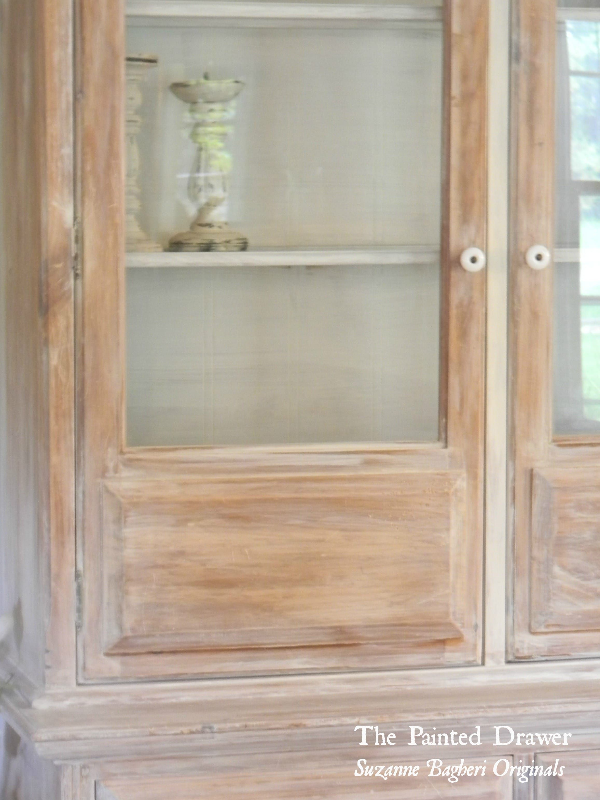 A Vintage Cabinet Gets A Farmhouse Makeover Using A Whitewash Of Annie Sloan Old White With Vintage Cabinets Whitewash Kitchen Cabinets White Washed Furniture