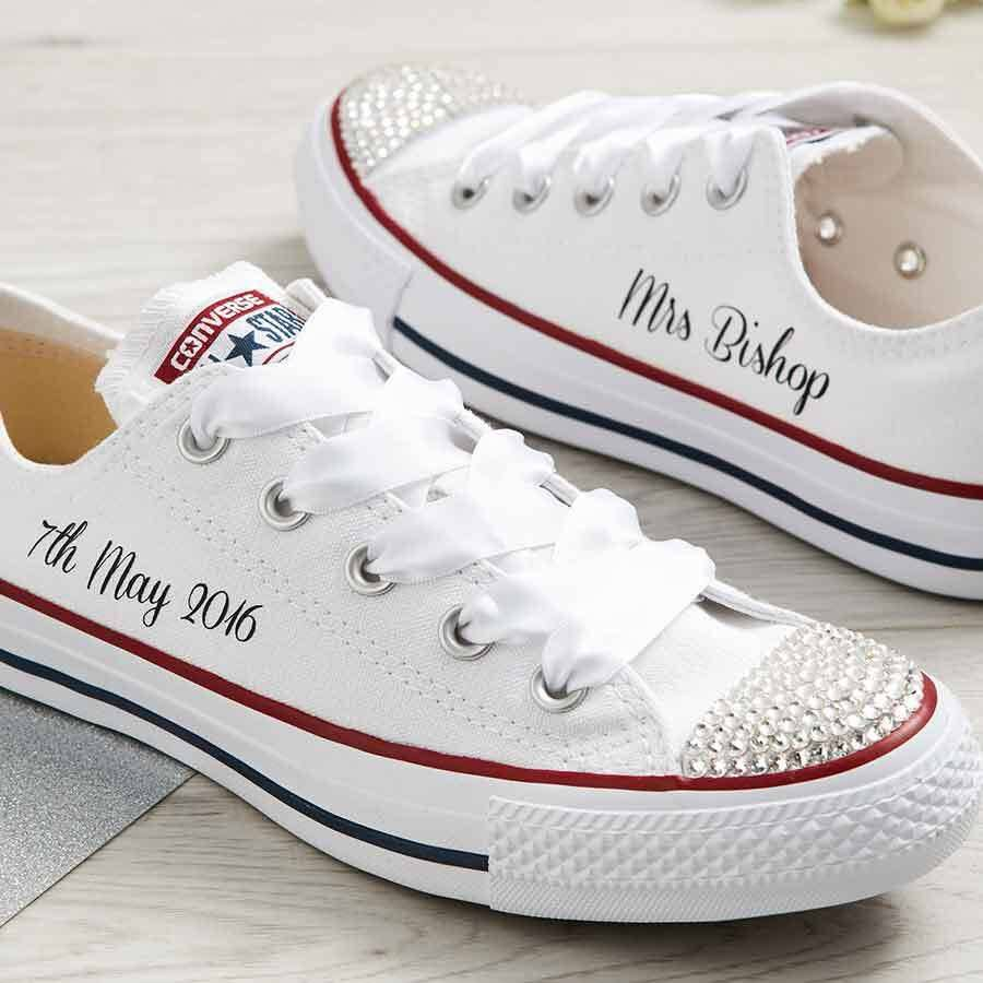 Personalised Bridal White Platform Converse (Scripted)