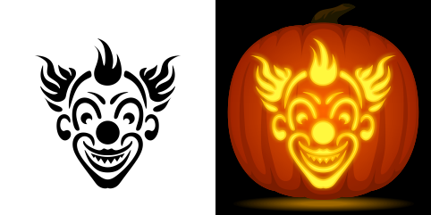 evil clown pumpkin carving stencil free pdf pattern to