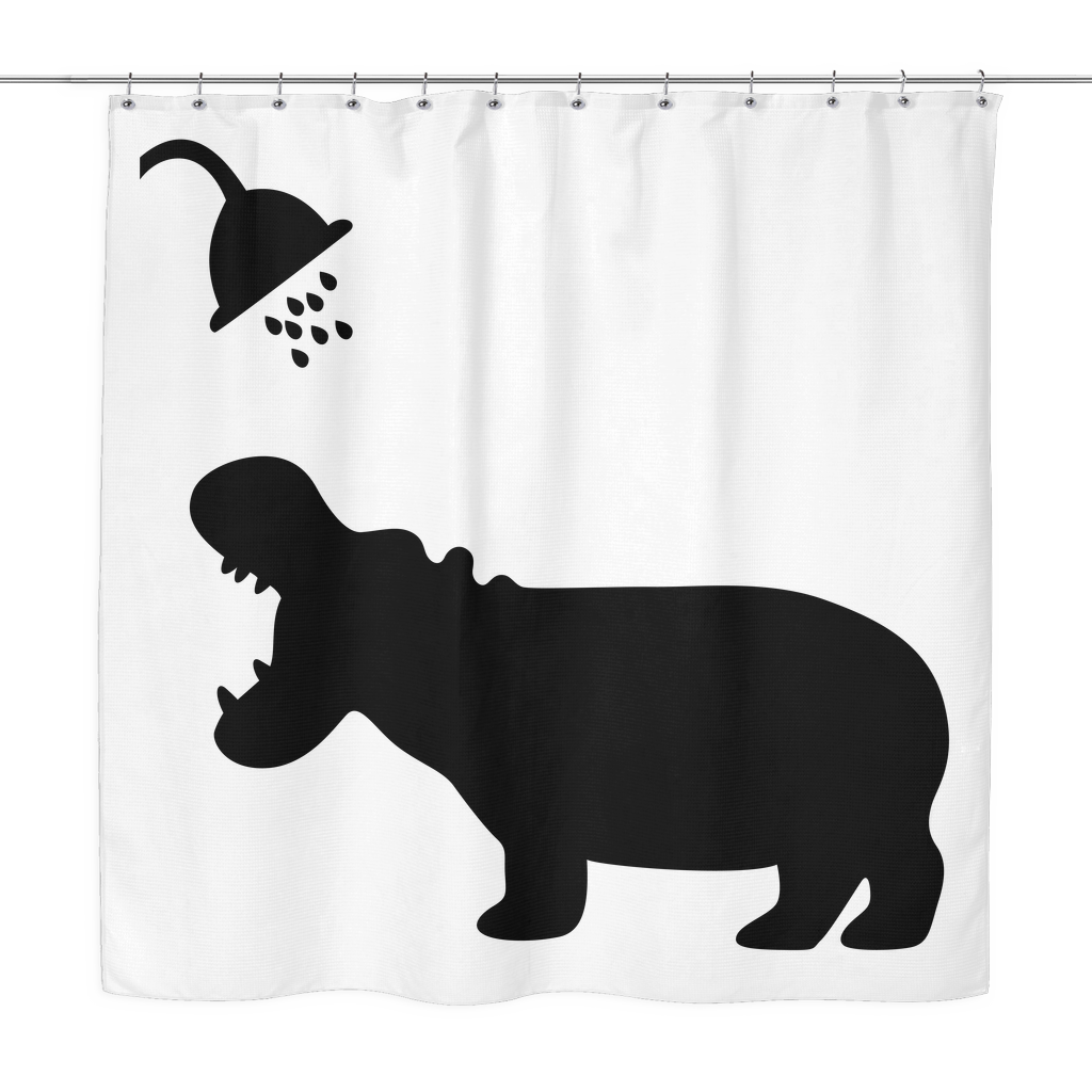 Hippo Shadow Shower Curtain Sarcastic Me Funny Shower Curtains