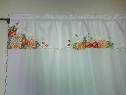 Resultado de imagem para cortinas de cozinha com pintura em tecido