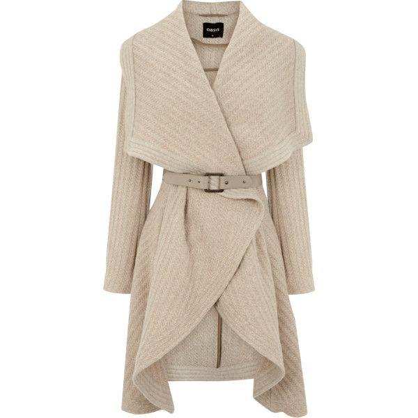 OASIS Textured Drape Coat (€125) found on Polyvore