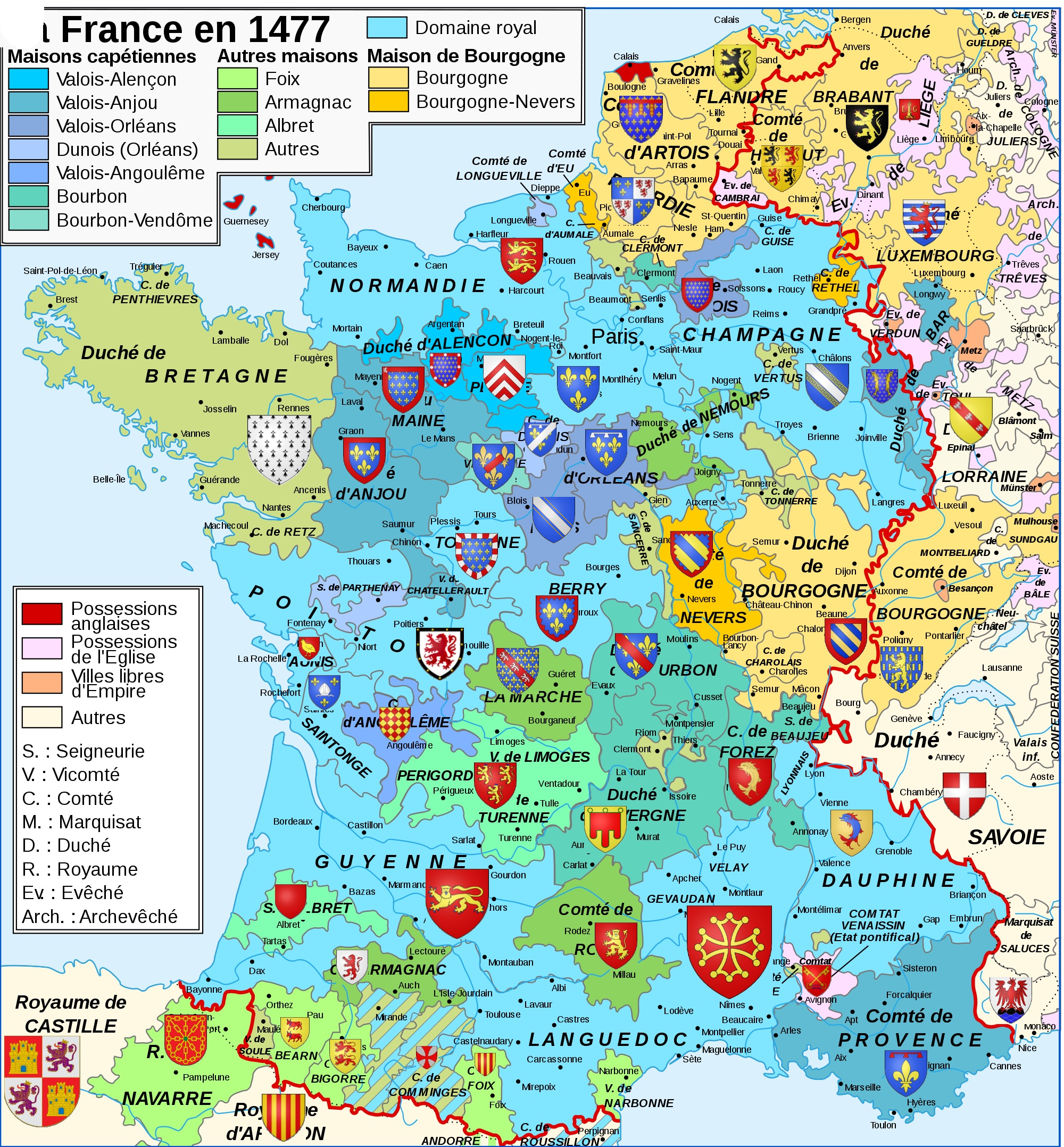 A map of France and its neighbours in 1477 (in French). [2000 × 2156]