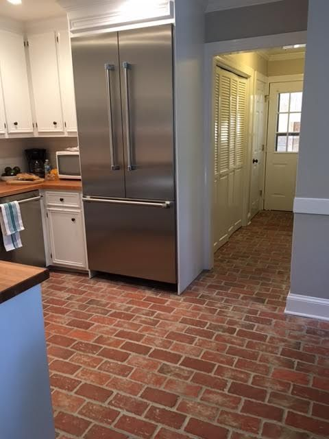 This Brick Kitchen Floor Is The Wright S Ferry Tiles With Wood Ash On The Tiles And Mortar Left In The Tex Brick Floor Kitchen Kitchen Flooring Brick Kitchen