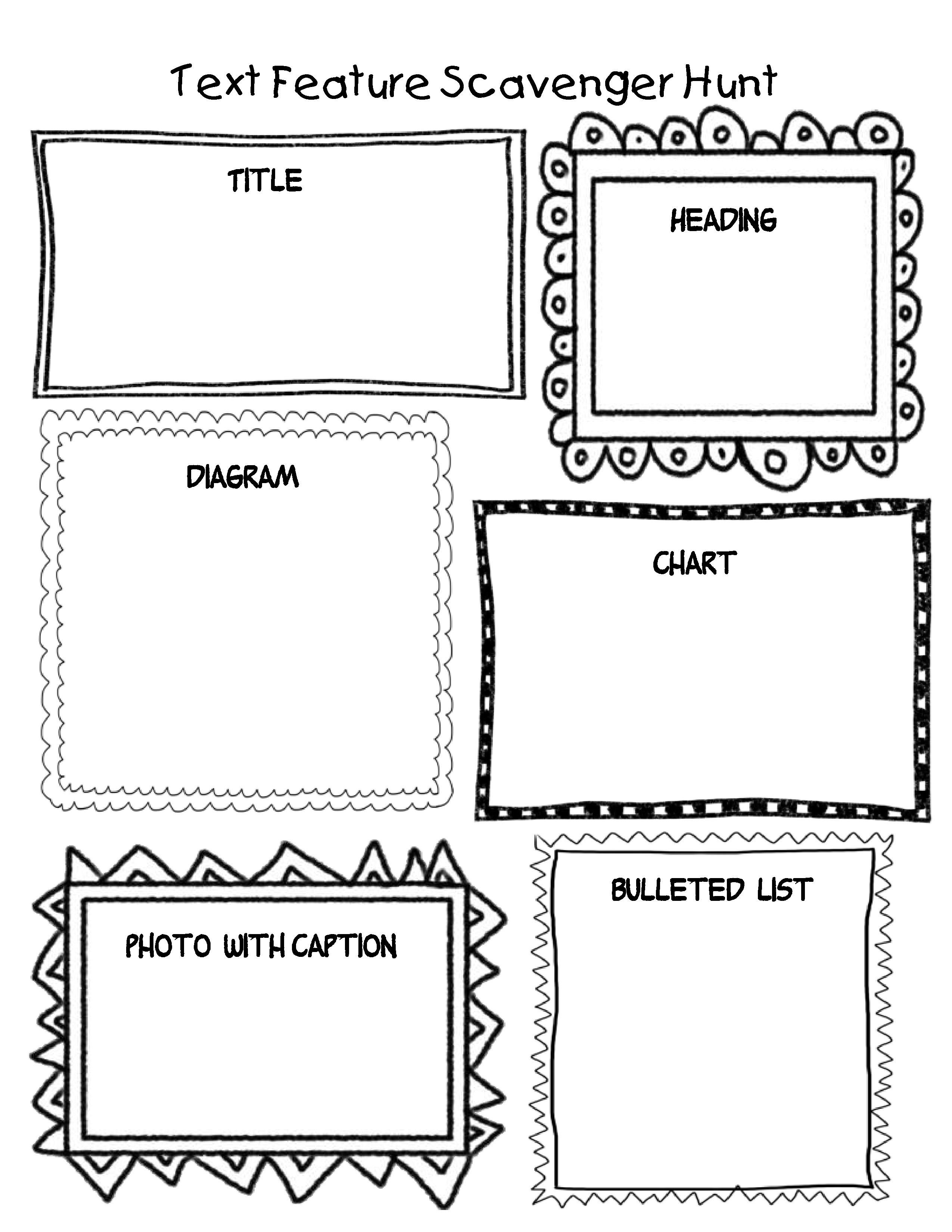 Create One Of These Students Could Then Create One Of Their Own Text Feature Scavenger Hunt Text Features Worksheet Text Features Text Features Activities [ 3300 x 2550 Pixel ]
