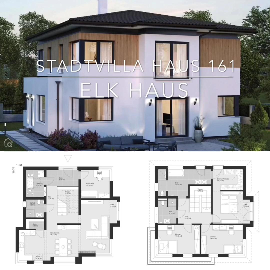 Photo of Fertighaus Stadtvilla modern mit Holz Putz Fassade & Walmdach bauen, Haus Ideen mit Grundriss