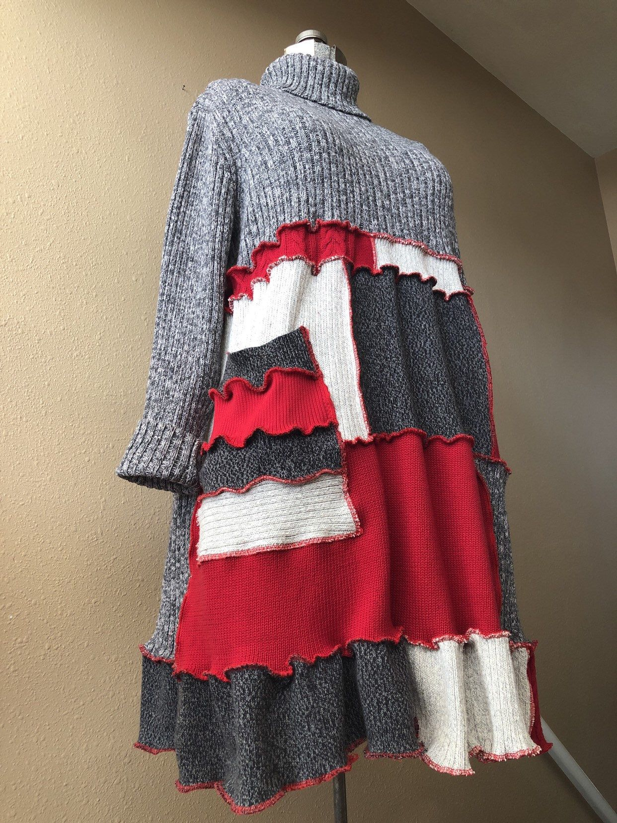2cb44203500 Excited to share this item from my  etsy shop  Upcycled Patchwork Sweater  Dress