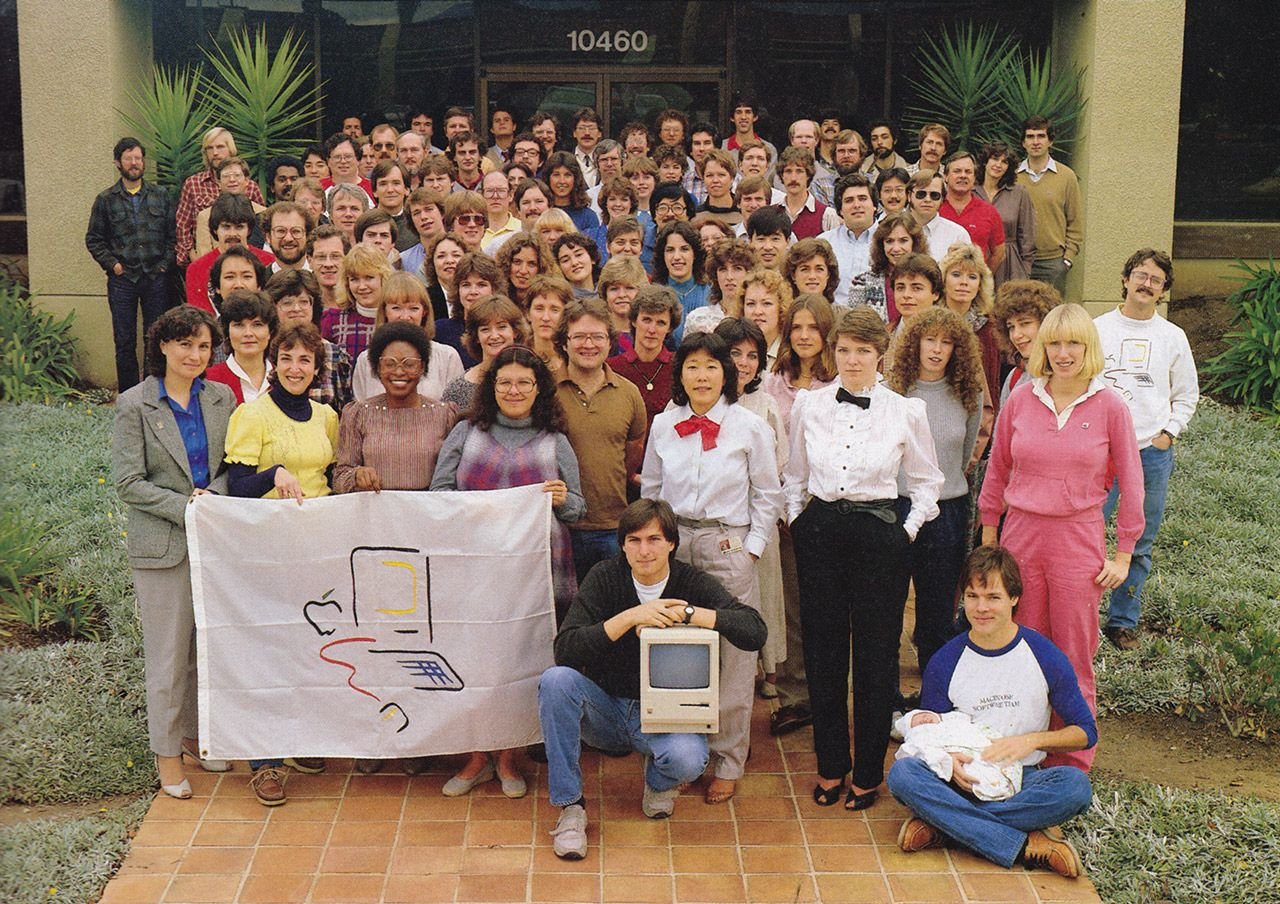 Steve Jobs and the original Macintosh group at Apple Computer in 1984.