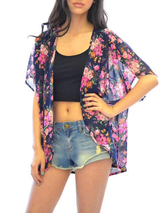 3c68739cab252 Azkara Women s Open Front Bunch Flowers Sheer Vest Kimono with Black Top  Underneath with Cut Offs