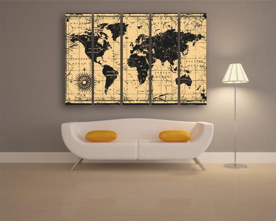 3 Piece Wall Art Home Interior Picture 5 Piece Canvas Modular Home World Map Art Custom Canvas Print Large World Map World Map Gift