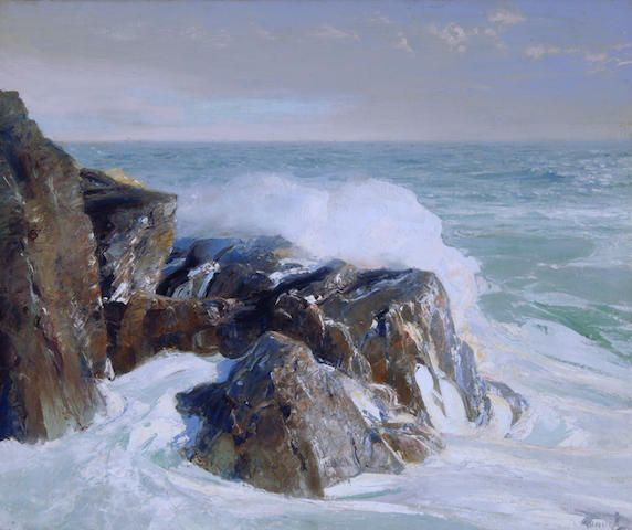 Frederick Judd Waugh 1861 1940 The Rocky Point Oil On Canvas 63 5 X 76 2cm Ocean Painting Landscape Artist Seascape Paintings