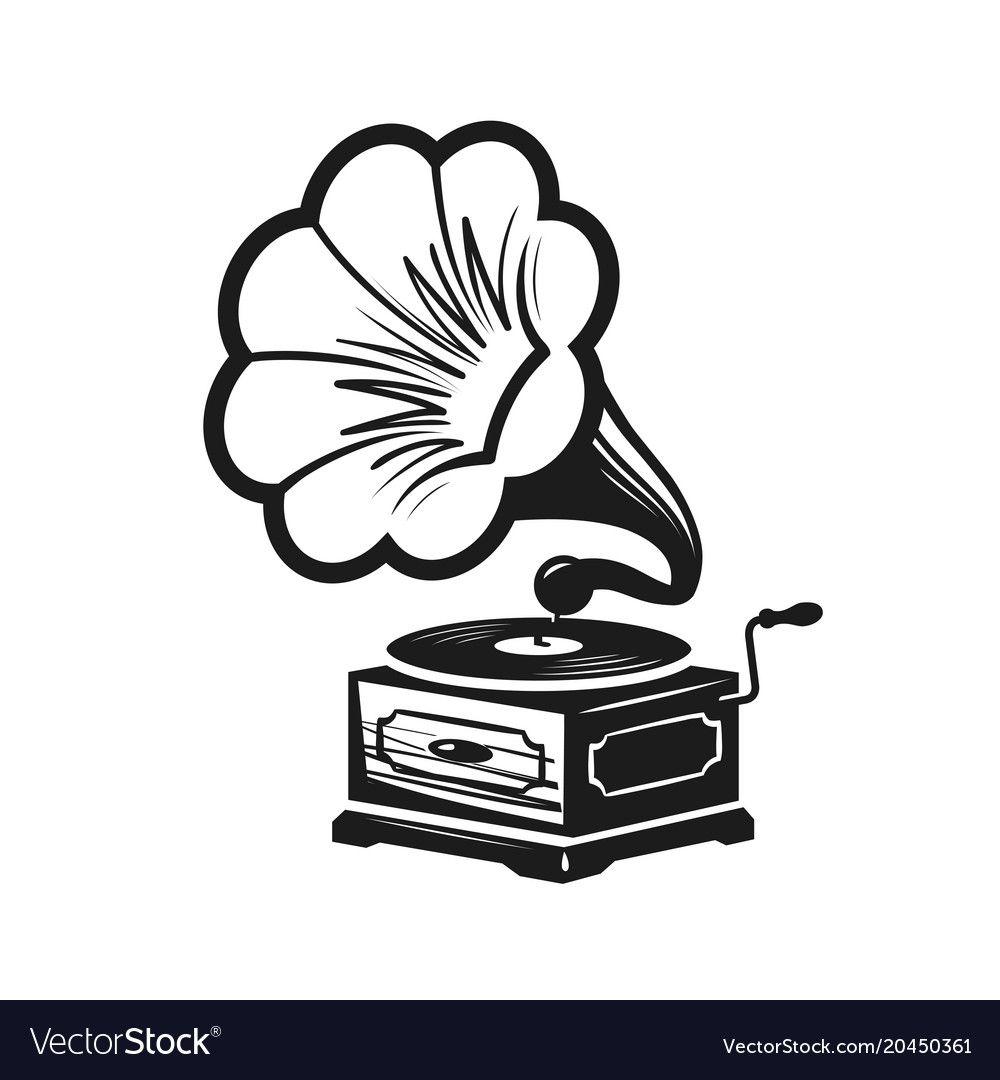 gramophone phonograph logo or label record vector image affiliate logo phonograph gramophone label ad vector character design cow logo vector free gramophone phonograph logo or label