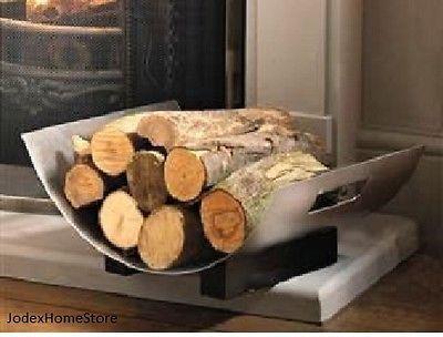 inglenook solid stainless steel curved log holder rack fireside hearth - Fireplace Log Holder