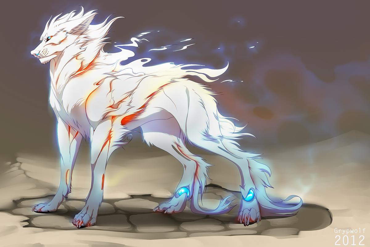 Картинки белых собак аниме