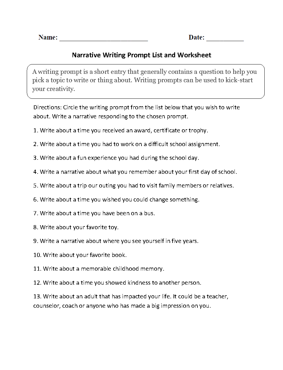 worksheet 8th Grade Writing Worksheets narrative writing prompt list and worksheet our prompts worksheets provoke thought about these can be