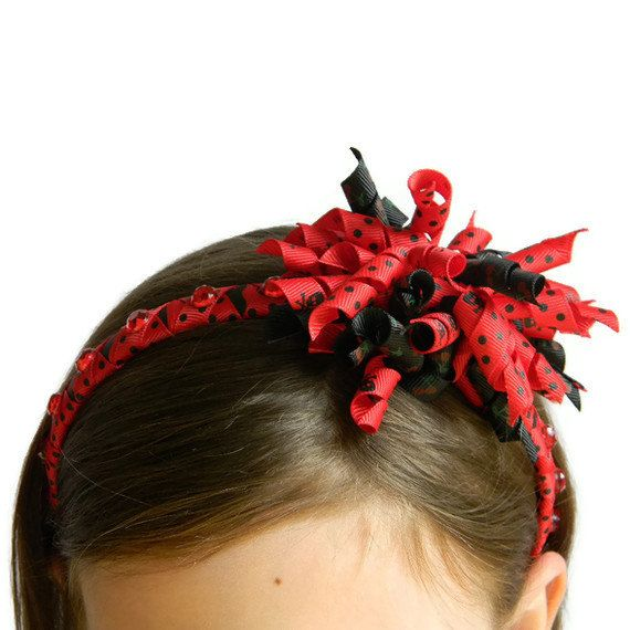 Korker headband, Black and Red ribbon wrapped headband with Skulls and Cherries and Red rhinestones. on Etsy, $14.17 AUD